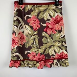 The Limited sz 4 Floral Skirt A Line Brown Pink